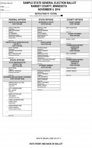 This sample ballot shows party affiliation for federal and state candidates, but no party for county positions.